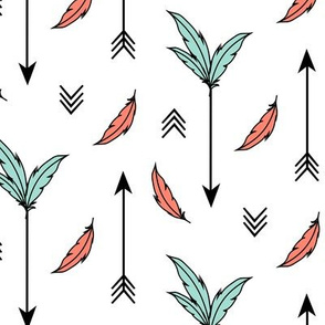 Arrows & Feathers - Coral Mint