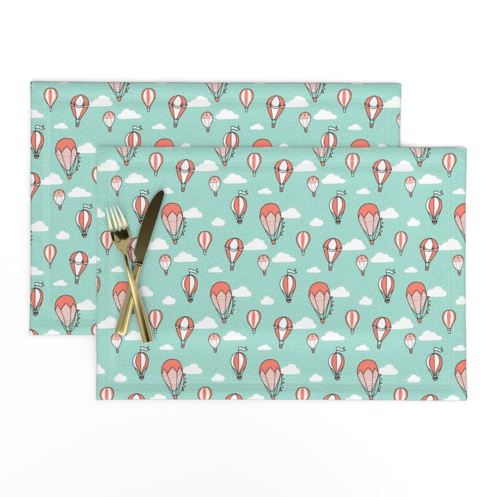 Lamona Cloth Placemats featuring Coral Mint Black and White Balloons by hazelfishercreations