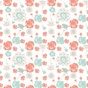 Coral and Mint Roses
