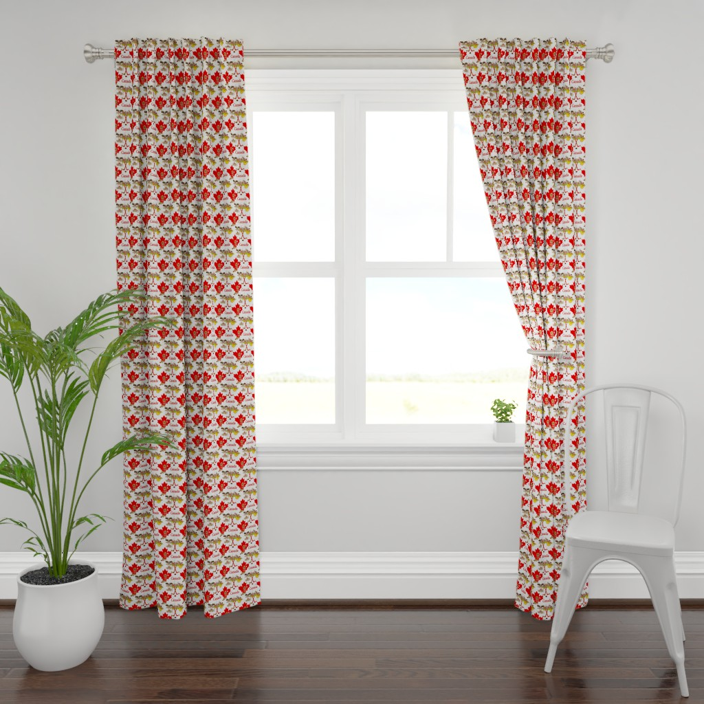 Plymouth Curtain Panel featuring Proudly Canadian Beaver and Moose by spicetree