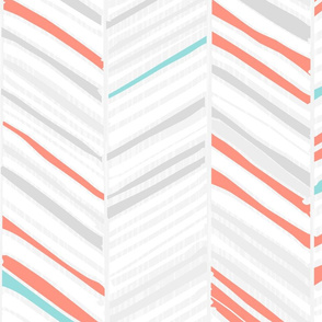 Herringbone Hues of Coral & Aqua by Friztin