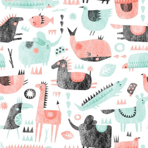 coral mint animal party