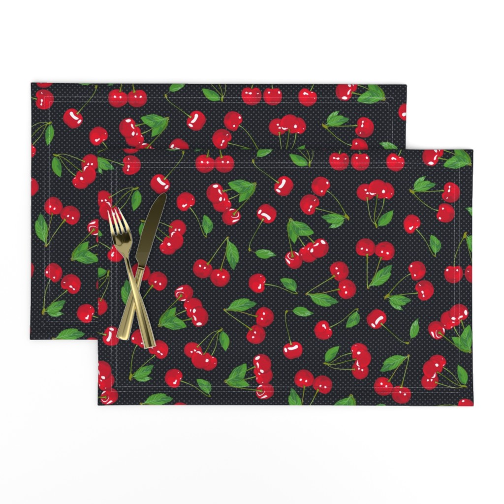 Lamona Cloth Placemats featuring Very Cherry - Black by juliesfabrics