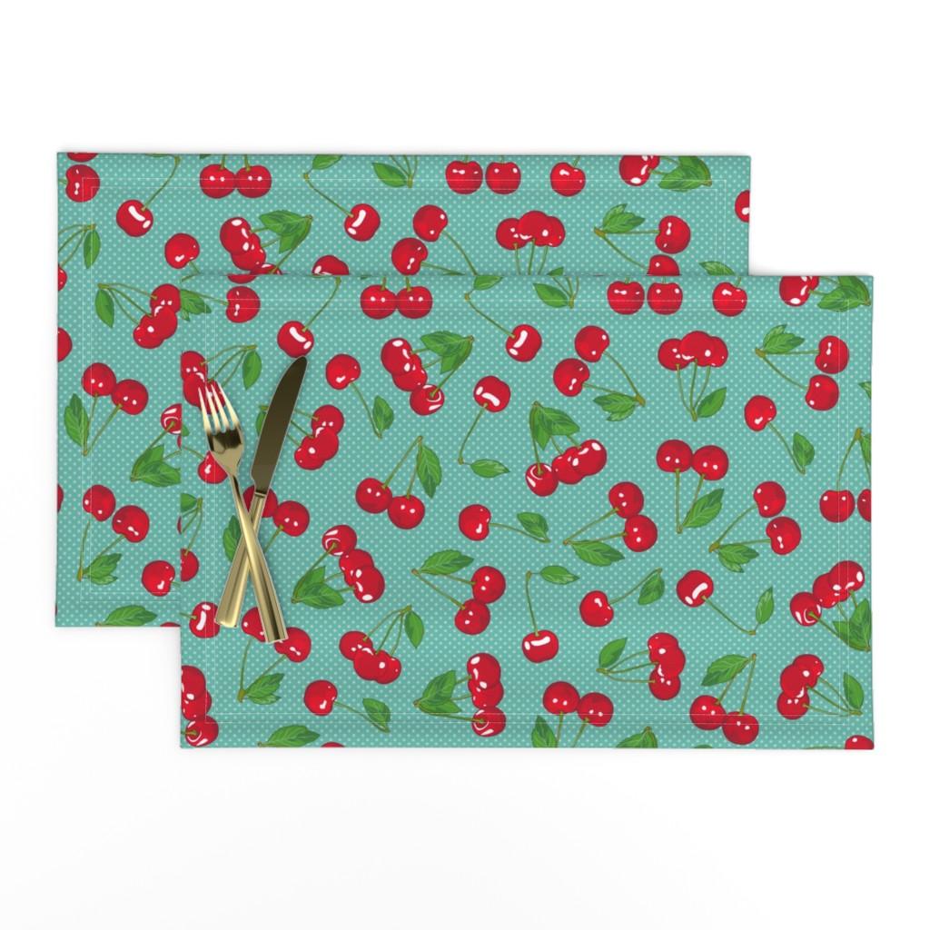 Lamona Cloth Placemats featuring Very Cherry - Aqua by juliesfabrics