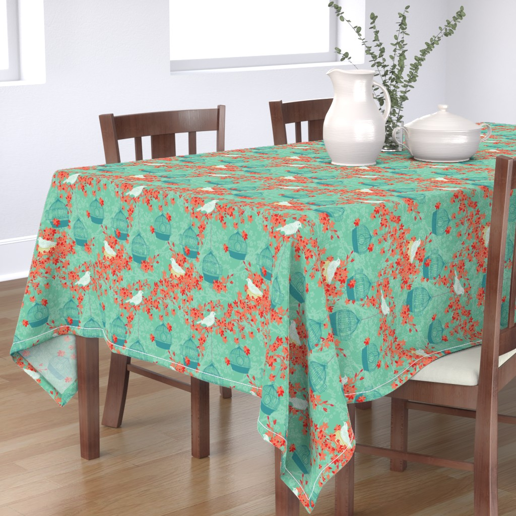 Bantam Rectangular Tablecloth featuring Cherry Blossoms And Nesting Birds by diane555