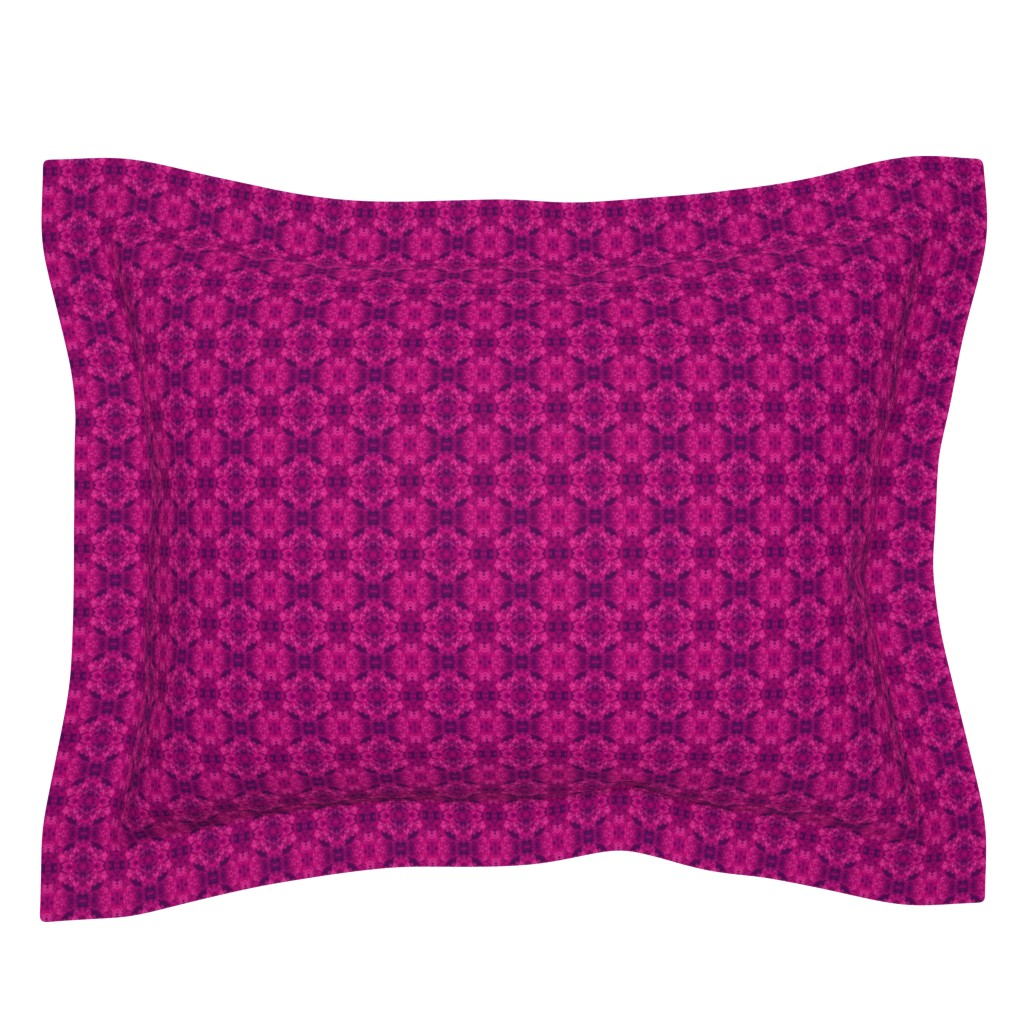 Sebright Pillow Sham featuring fuchsia and purple_swirl medallion_4_Picnik_collage-ch by khowardquilts