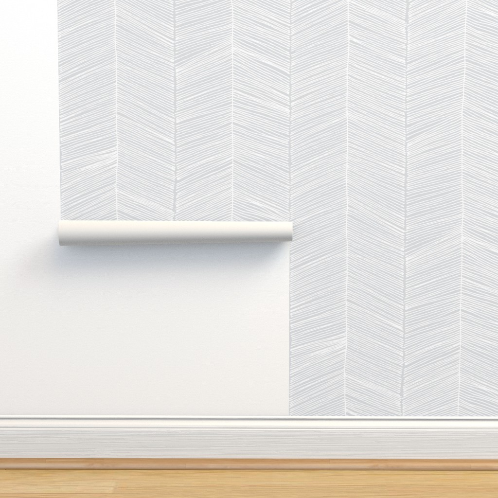 Isobar Durable Wallpaper featuring Herringbone - Gray by papercanoefabricshop