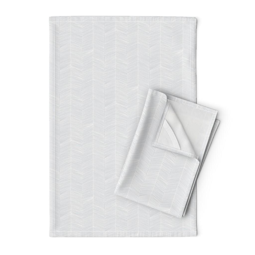 Orpington Tea Towels featuring Herringbone - Gray by papercanoefabricshop
