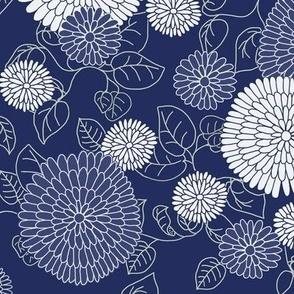 Chrysanthemums in indigo