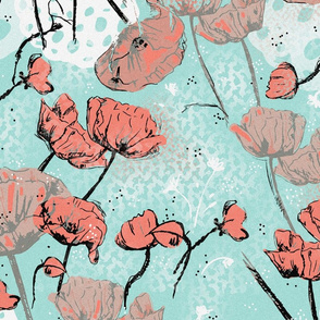 Red Poppies on a Teal background