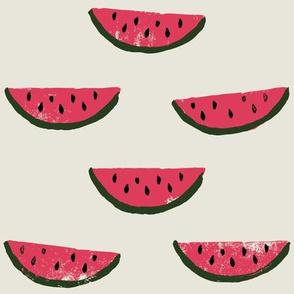 Watermelon Fabric on Cream