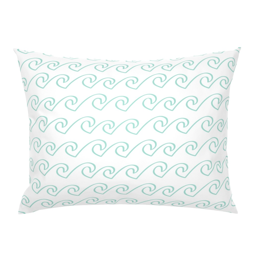 Campine Pillow Sham featuring Wave - Mint by papercanoefabricshop