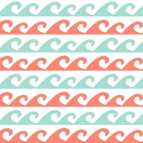 Wave - Solid Mint and Coral
