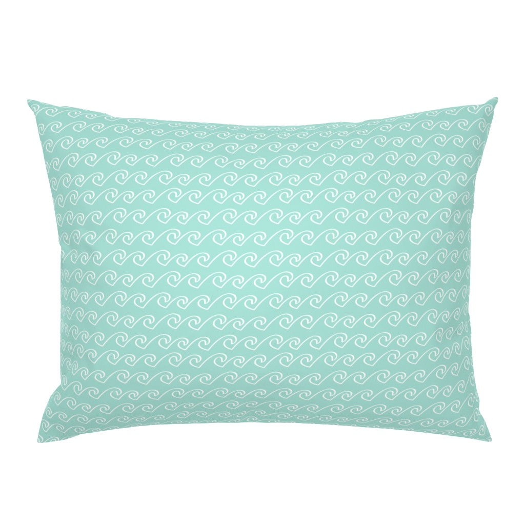 Campine Pillow Sham featuring Wave - Solid Mint by papercanoefabricshop