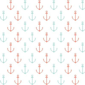Nautical Anchor - Coral and Mint