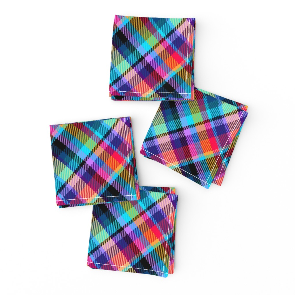 Frizzle Cocktail Napkins featuring Madras Plaid Tropical Night by eclectic_house