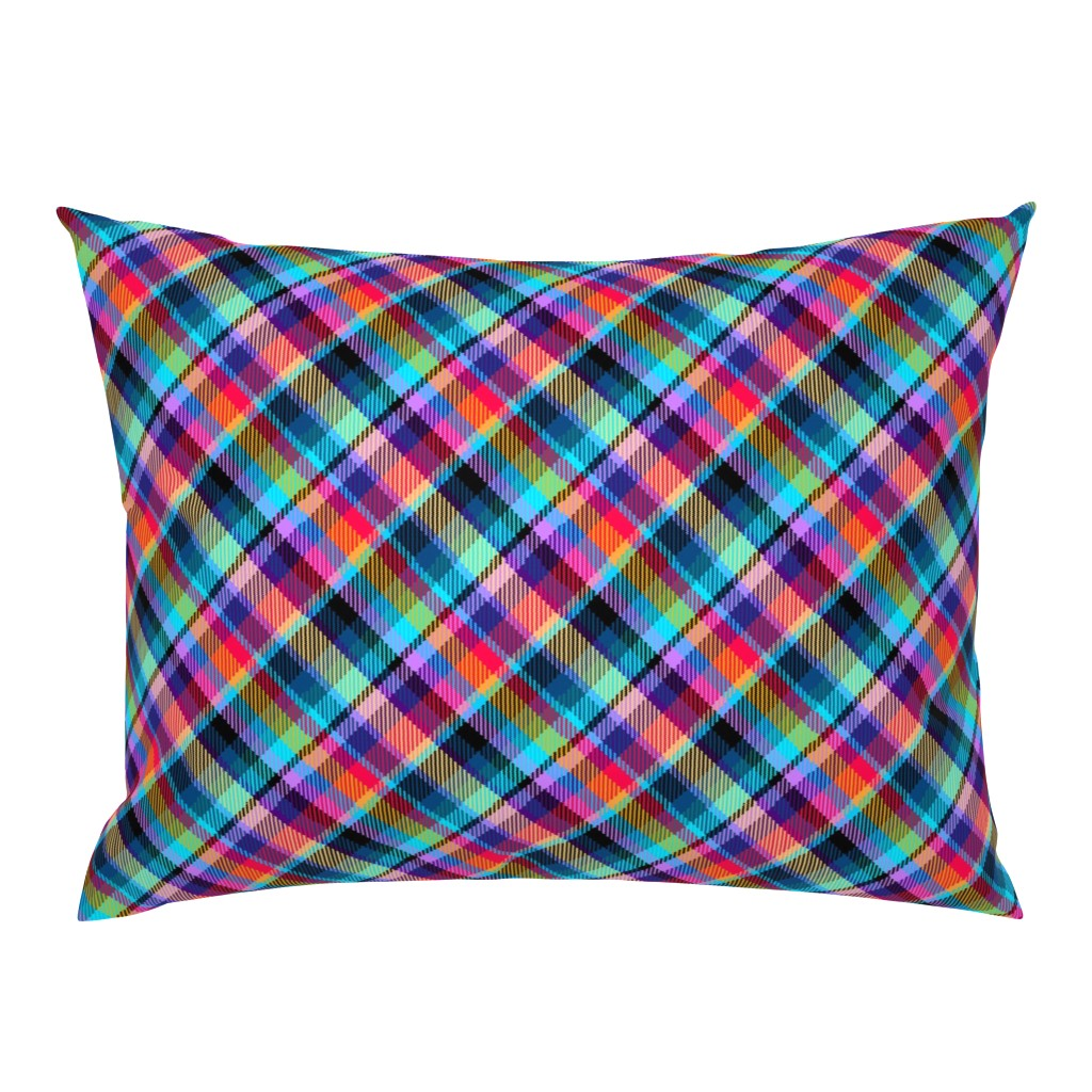 Campine Pillow Sham featuring Madras Plaid Tropical Night by eclectic_house