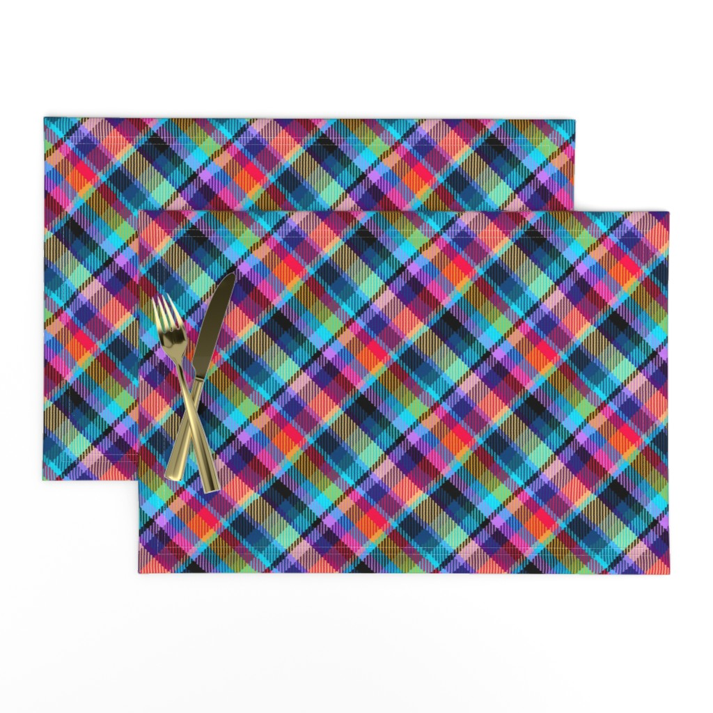 Lamona Cloth Placemats featuring Madras Plaid Tropical Night by eclectic_house
