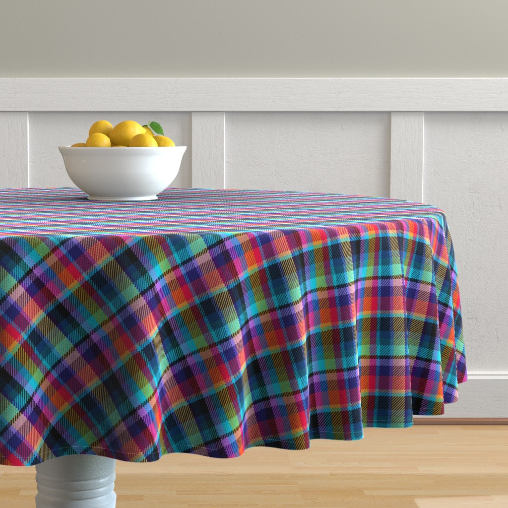 Malay Round Tablecloth featuring Madras Plaid Tropical Night by eclectic_house
