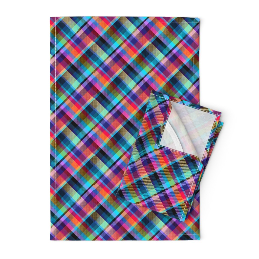 Orpington Tea Towels featuring Madras Plaid Tropical Night by eclectic_house
