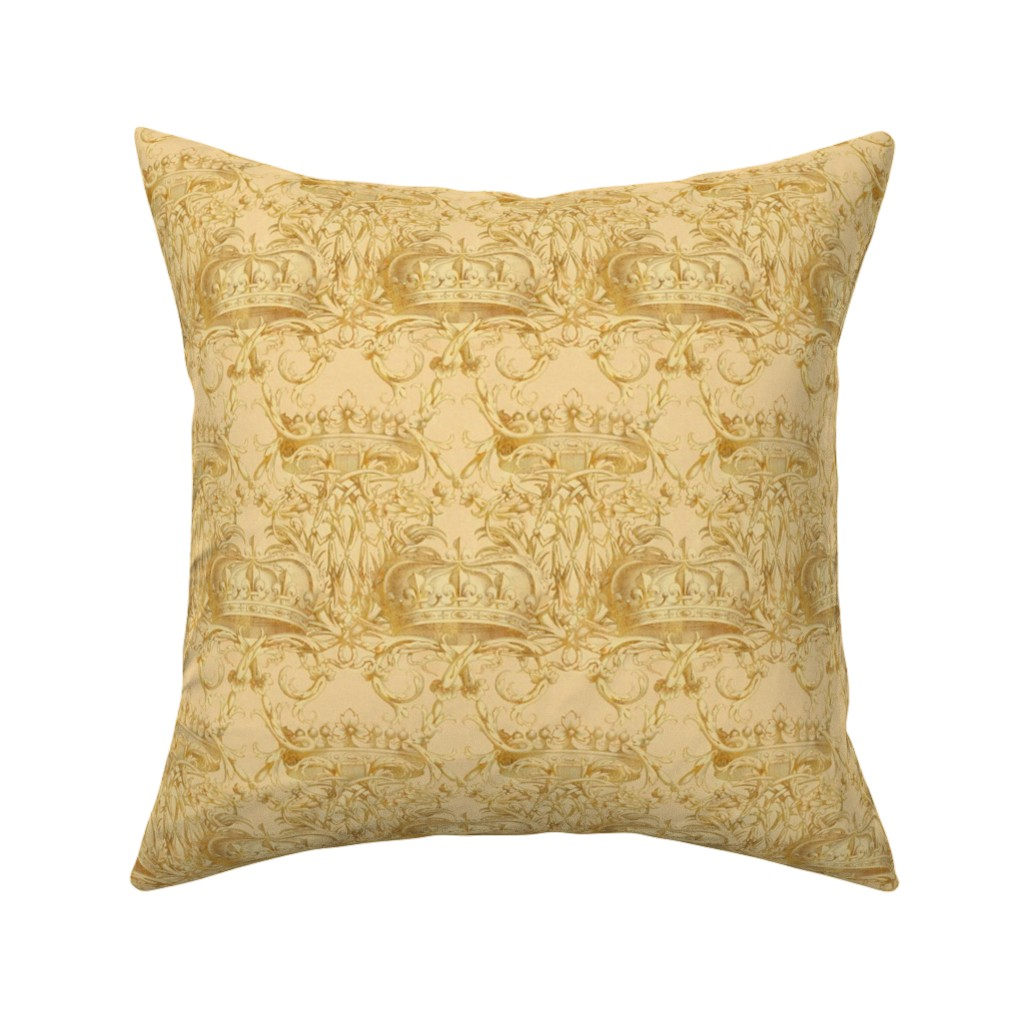 Catalan Throw Pillow featuring Crown Damask ~ On Parr  by peacoquettedesigns
