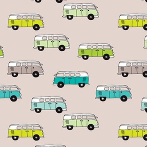 Cute vintage bohemian summer hippie van in blue lime and beige illustration pattern for kids