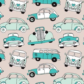 Cute vintage cars illustration with oldtimers and vw bus in beige and blue illustration pattern for boys