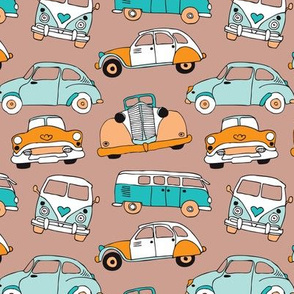 Cute vintage cars illustration with oldtimers and vw bus in retro colors and blue and orange illustration pattern for kids