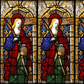 Saint Dorthy Stained Glass Window, 1500s Swatch Sized Scale