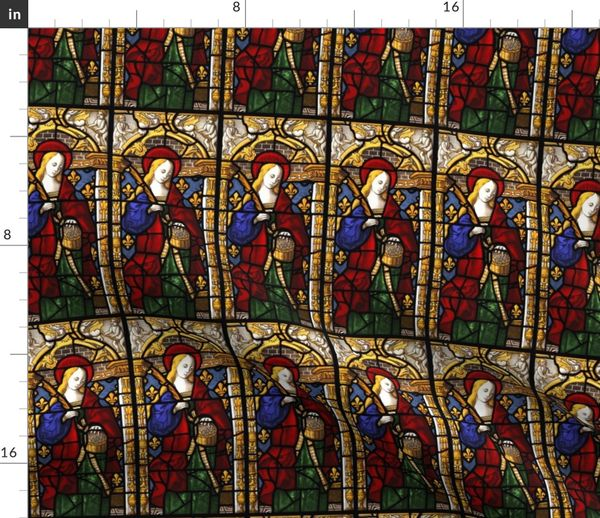 Fabric By The Yard Saint Dorthy Stained Gl Window 1500s Swatch Sized Scale