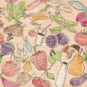 Abstract food sketch pattern