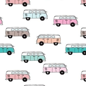 Cute vintage summer hippie van in blue coral mint and pink illustration pattern for kids girls version