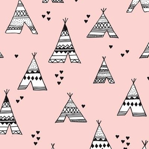 Trendy teepee and indian summer arrow illustration geometric aztec print in pink
