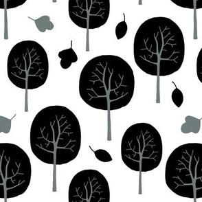 Autumn trees in the park black/white