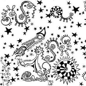 Bohemian Sky | Space Travel |Cosmic Black and White Doodles | Space Ships and Stars | Zen Doodle |
