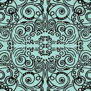 Mint & Black Swirls  | Zen Doodle |