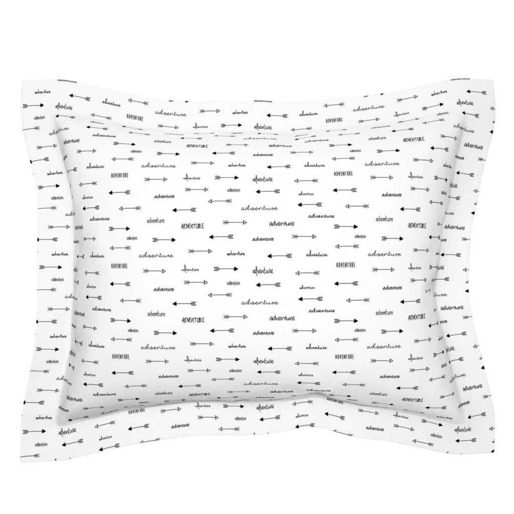 Sebright Pillow Sham featuring Adventure Arrows Black and White by sierra_gallagher