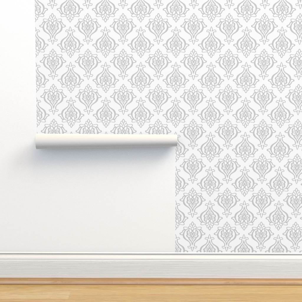 Isobar Durable Wallpaper featuring Indian Damask Gray by elramsay