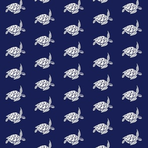 Sea Turtle, White on Navy