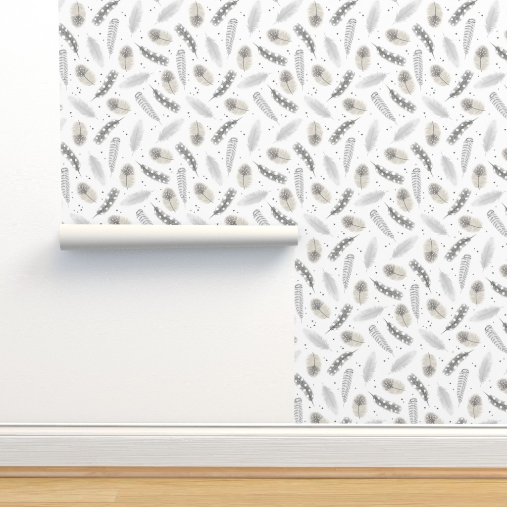 Isobar Durable Wallpaper featuring Feathers - neutral by innamoreva
