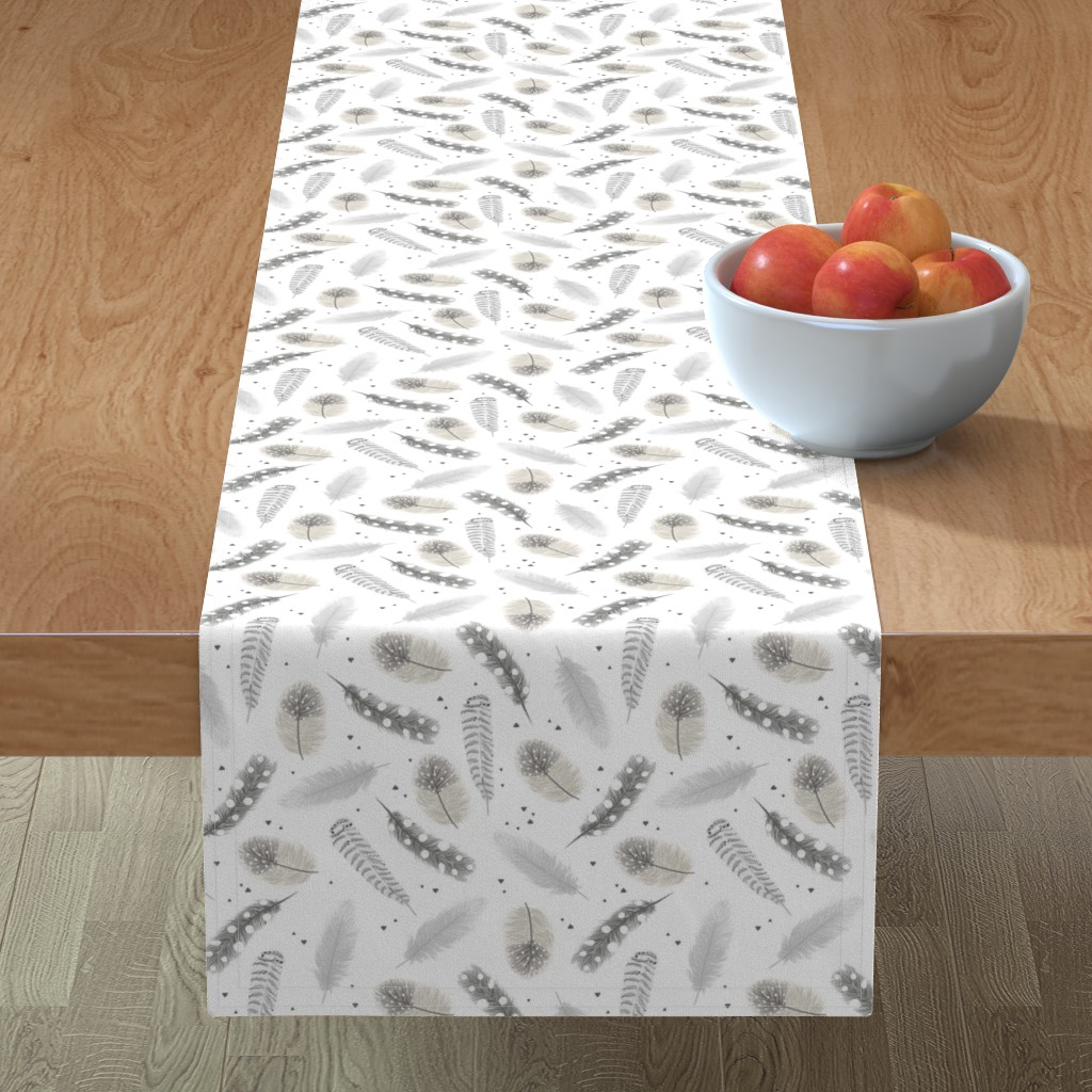 Minorca Table Runner featuring Feathers - neutral by innamoreva