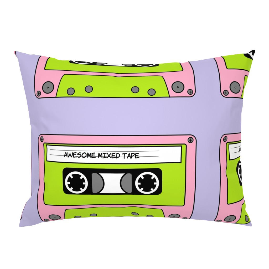 Campine Pillow Sham featuring Awesome_Mixed_Tape_Pink by greatfulthread
