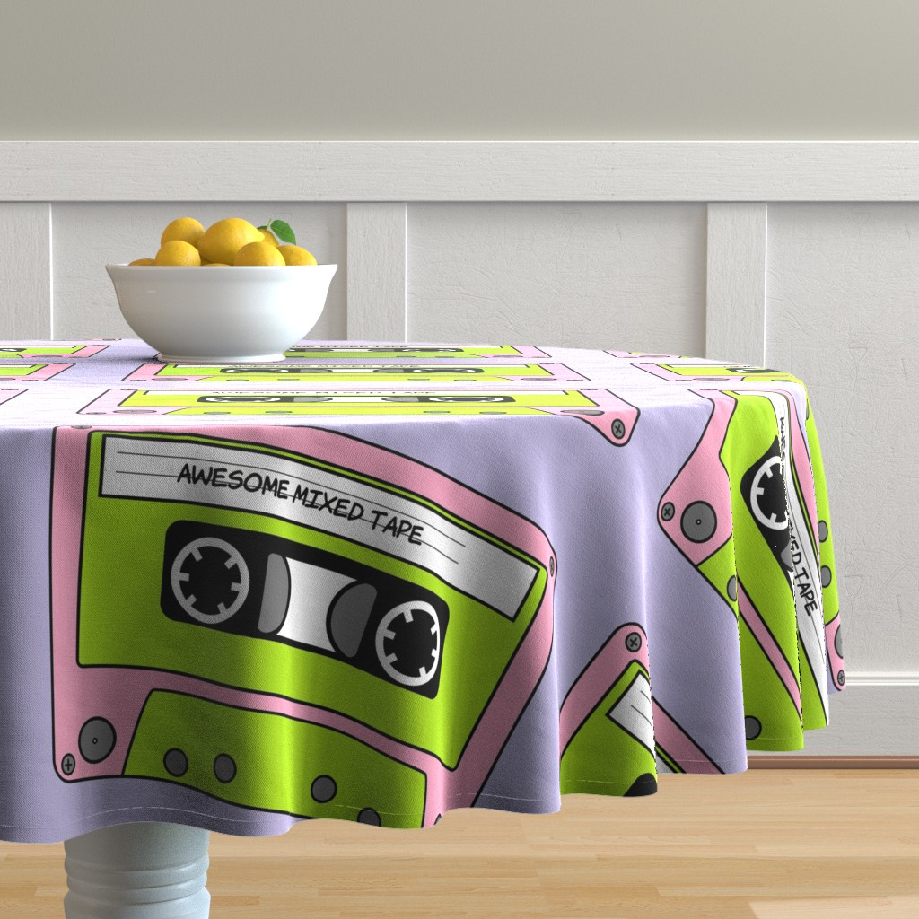 Malay Round Tablecloth featuring Awesome_Mixed_Tape_Pink by greatfulthread