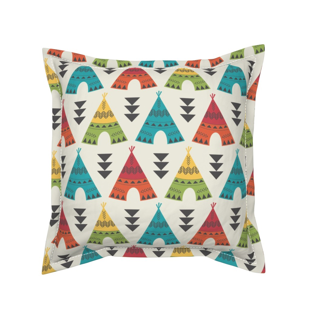 Serama Throw Pillow featuring Colorful Teepees by bohemiangypsyjane