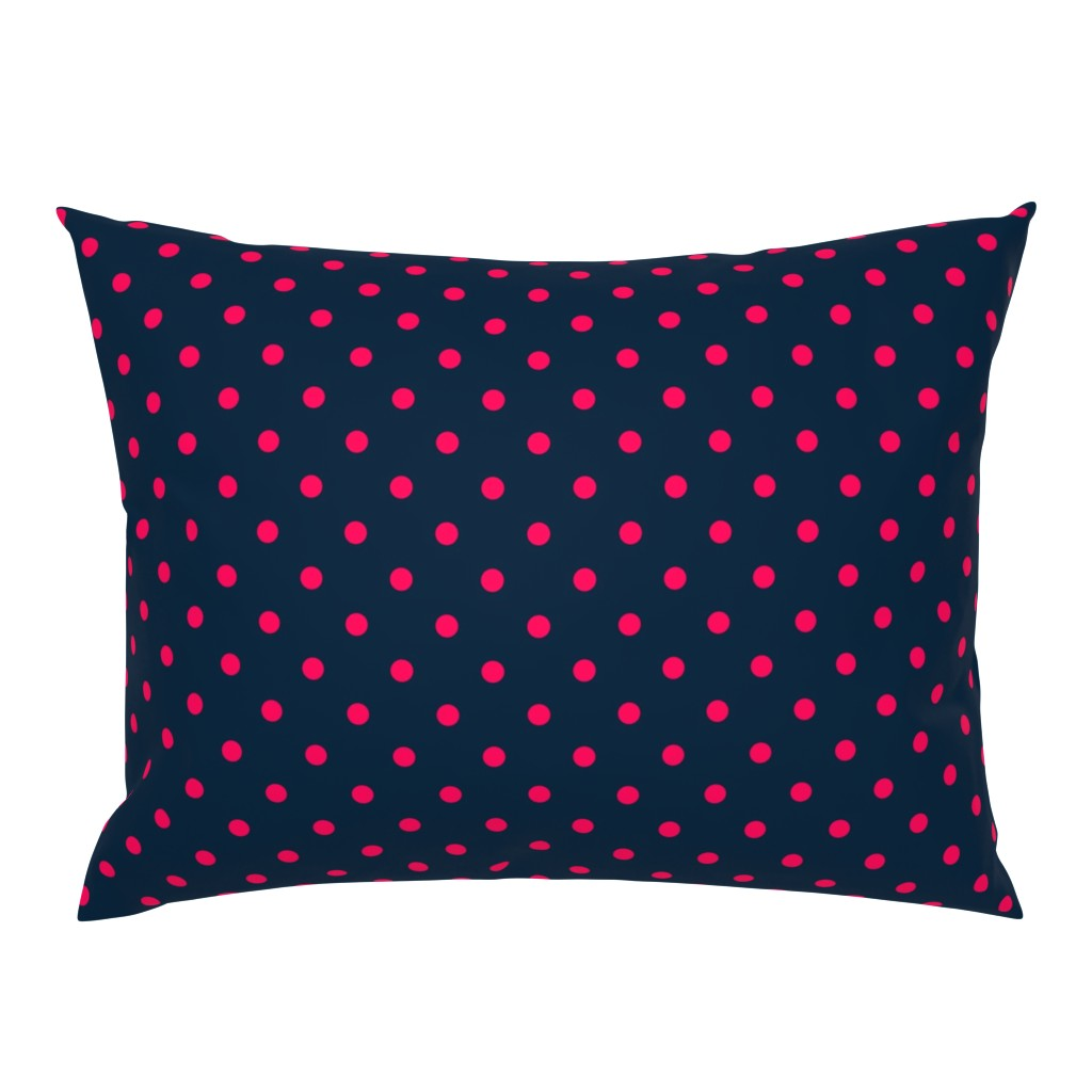 Campine Pillow Sham featuring Navy and Hot Pink Polka Dots by paper_and_frill