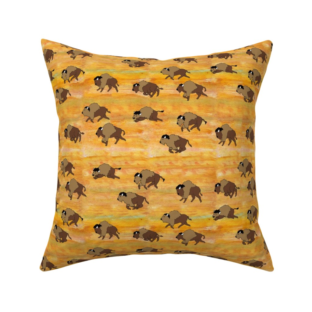 Catalan Throw Pillow featuring bison herd watercolor by evenspor
