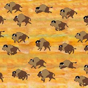 bison herd watercolor