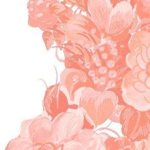 Mid Century Floral Cocktail ~ Border Print ~ Coral