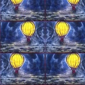 hot air balloon encaustic wax painting