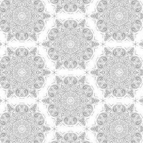 Lace Doily Mandala Honeycomb Grey on White